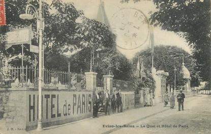 """/ CPA FRANCE 74 """"Evian les Bains, le quai et hôtel de Paris"""""""