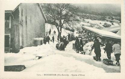 """/ CPA FRANCE 74 """"Monnetier, sports d'hiver"""""""