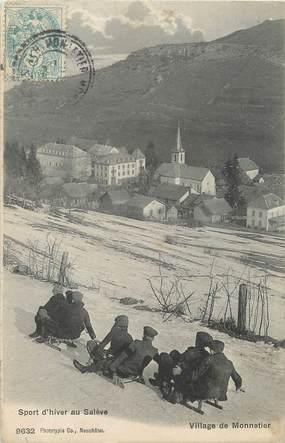 """/ CPA FRANCE 74 """"Village du Monnetier"""" / LUGE"""