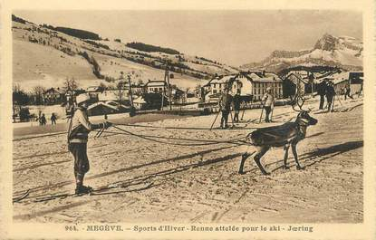 "/ CPA FRANCE 74 ""Megève, renne attelée pour le ski, Joering"""