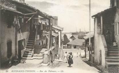"""/ CPA FRANCE 74 """"Rives sous Thonon, rue des pêcheurs"""""""