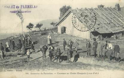"/ CPA FRANCE 74 ""Ascension du Parmelan, caravane au Chalet Chappuis"""