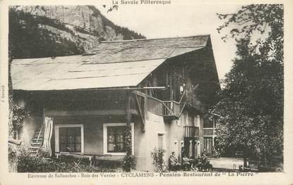 "/ CPA FRANCE 74 ""Cyclamens, pension restaurant de la Pierre"""