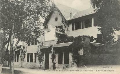"""/ CPA FRANCE 74 """"Samoëns, entrée principale, pension du Bérouze"""""""