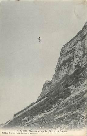 """/ CPA FRANCE 74 """"Descente sur le cable du Salève"""""""