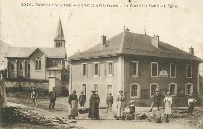 """CPA FRANCE 73 """"Env. d'Albertville, Bonvillard, la place de la mairie, l'Eglise"""""""