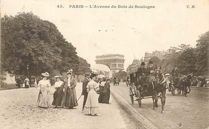 """/ CPA FRANCE 75016 """"Paris, l'avenue du Bois de Boulogne"""" / Ed C.M"""