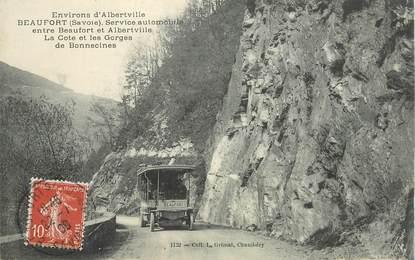 """CPA FRANCE 73 """"Env. d'Albertville, Beaufort, service automobile"""" / AUTOBUS"""