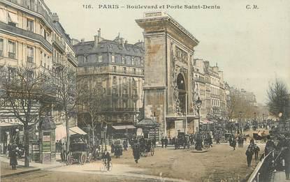 """/ CPA FRANCE 75003 """"Paris, Bld et porte Saint Denis / Ed. C.M"""