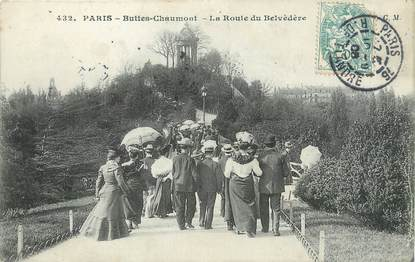 """/ CPA FRANCE 75019 """"Paris, Buttes Chaumont, la route du Belvèdère"""" / Ed. C.M"""