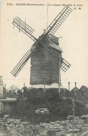 """/ CPA FRANCE 75018 """"Paris, Montmartre, le vieux moulin à vent"""" / Ed. C.M"""