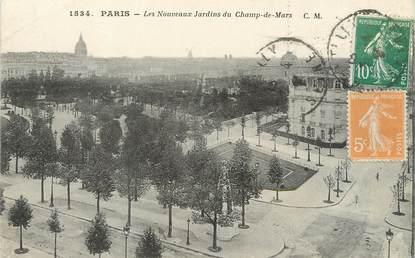 """/ CPA FRANCE 75007 """"Paris, les nouveaux jardins du champ de Mars"""" / Ed. C.M"""