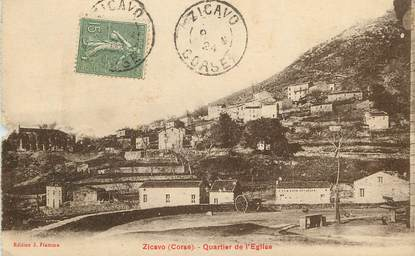 "CPA FRANCE 20 ""Corse, Zicavo, Quartier de l'Eglise"""