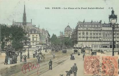 """/ CPA FRANCE 75006""""Paris, la place et le pont Saint Michel"""" / Ed. C.M"""