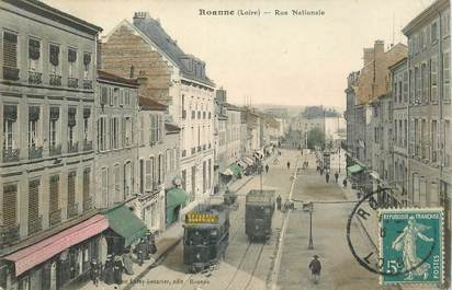 "CPA FRANCE 42 ""Roanne, la rue Nationale"" / TRAMWAY"