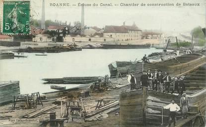 """CPA FRANCE 42 """"Roanne, Chantier de construction de bateaux"""" / PENICHE / BATELLERIE"""