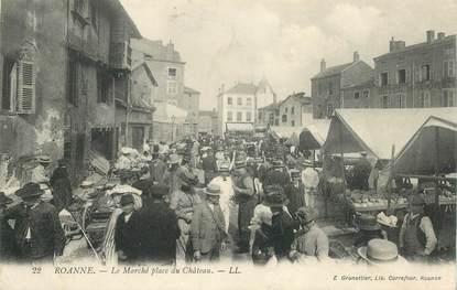 """CPA FRANCE 42 """"Roanne, le marché place du chateau"""""""
