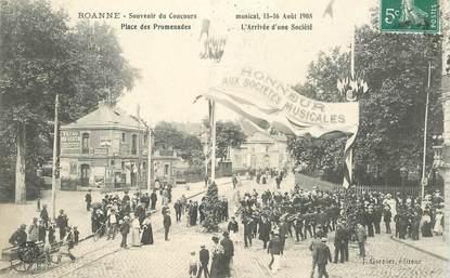 """CPA FRANCE 42 """"Roanne, souvenir du Concours musical, 1908"""""""