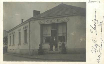 "CARTE PHOTO FRANCE 42 ""Roanne, Café"""