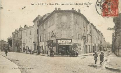 "CPA FRANCE 30 ""Alès, rue Florian et rue Edgard Quinet"""