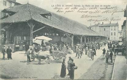 """/ CPA FRANCE 38 """"La Côte Saint André, la Halle un jour de marché"""""""