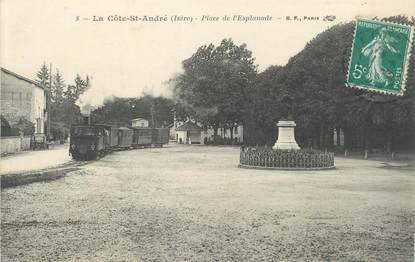 """/ CPA FRANCE 38 """"La Côte Saint André, place de l'Esplanade"""" / TRAMWAY"""