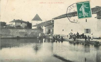 """/ CPA FRANCE 38 """"Grenay, le lac et le pavillon"""""""