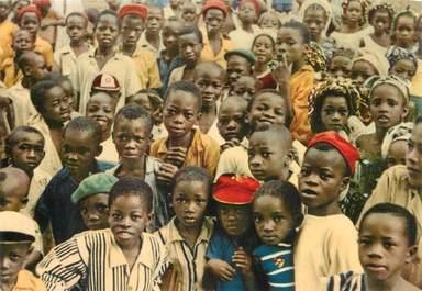 """CPSM GUINEE """"Guéckédou, enfants devant leur école"""""""