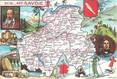 """/ CPSM FRANCE 74 """"Haute Savoie"""" / CARTE GEOGRAPHIQUE"""