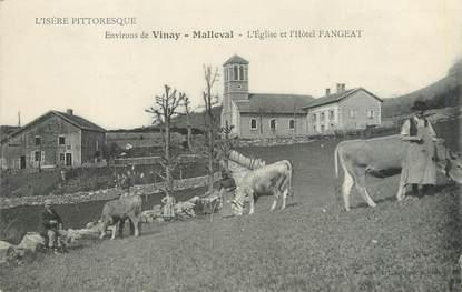 """/ CPA FRANCE 38 """"Malleval, l'église et l'hôtel Fangeat"""""""