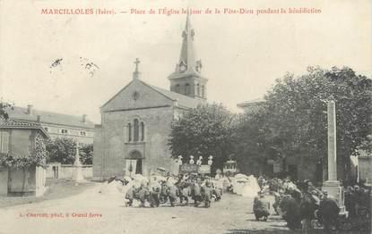 """/ CPA FRANCE 38 """"Marcilloles, place de l'église le jour de la Fête Dieu"""""""
