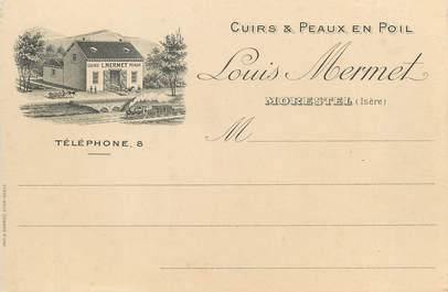 """/ CPA FRANCE 38 """"Morestel, Louis Mermet"""" / CUIRS ET PEAUX EN POIL / CARTE PUBLICITAIRE"""
