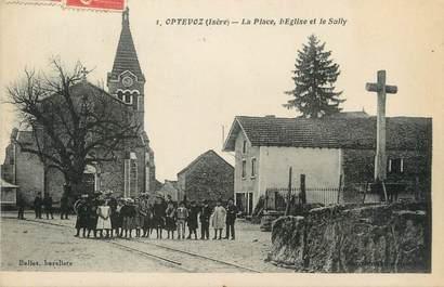 """/ CPA FRANCE 38 """"Optevoz, la place, l'église et le Sully"""""""
