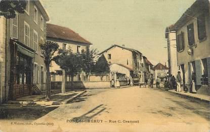 """/ CPA FRANCE 38 """"Pont de Chéruy, rue C. Gramont"""""""