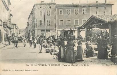 """/ CPA FRANCE 38 """"Le Péage du Roussillon, place du marché et la Halle"""""""