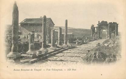 """CPA ARCHEOLOGIE """"Ruines romaines de Timgad, voie triomphale"""""""