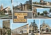 """78 Yveline / CPSM FRANCE 78 """"Conflans Sainte Honorine, divers aspects de la ville """""""