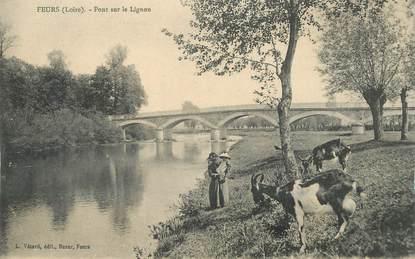 """.CPA FRANCE 42 '""""Feurs, Pont sur le Lignon""""/CHEVRES"""