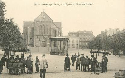 """.CPA FRANCE 42 '""""Firminy, l'Eglise et Place du Breuil"""""""