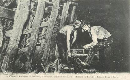 ".CPA FRANCE 42 '""Firminy, Mineurs au travail ""/MINE"