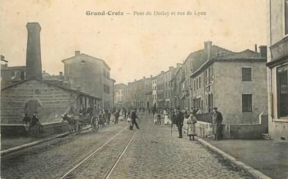 """.CPA FRANCE 42 """"Grand Croix,  Pont du Dorlay et Rue de Lyon"""""""