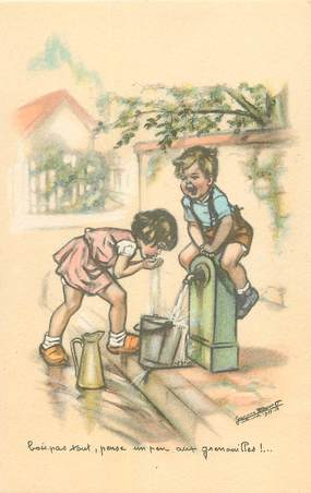 """CPA G. BOURET """"Bois pas tout, pense un peu aux grenouilles.... ! """""""