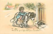 """Illustrateur CPA G. BOURET """"Pas par là, y a un gros chien qui va nous mordre .... !"""