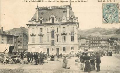 """.CPA  FRANCE 42 """"Rive de Gier, Marché aux légumes, Place de la Liberté"""""""