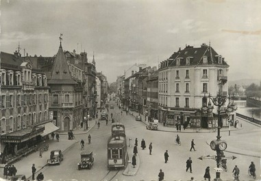 """/ CPSM FRANCE 90 """"Belfort, place Corbis"""" / TRAMWAY"""