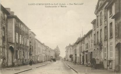 """.CPA  FRANCE 42 """" Saint Symphorien de Lay, Rue Nationale, Gendarmerie et Mairie"""""""