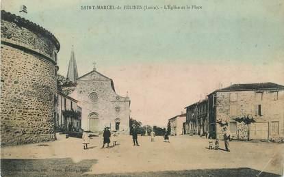 """.CPA  FRANCE 42 """" Saint Marcel de Félines, l'Eglise et la place"""""""