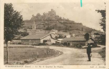 """.CPA  FRANCE 42 """" Saint Romain le Puy, Le Pic et Quartier de l'Eglise"""""""