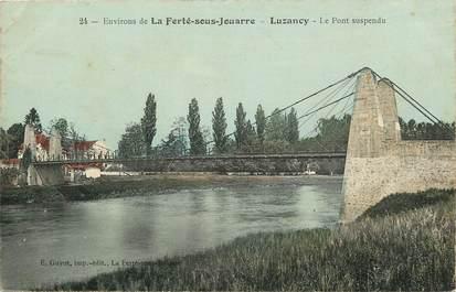 """CPA FRANCE 77 """"Env. de la Ferté sous Jouarre, Luzancy, le pont suspendu"""""""