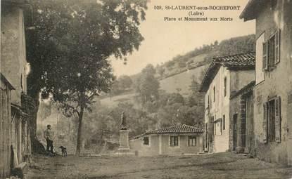 """.CPA  FRANCE 42 """" Saint Laurent sous Rochefort, Place et monument aux morts"""""""